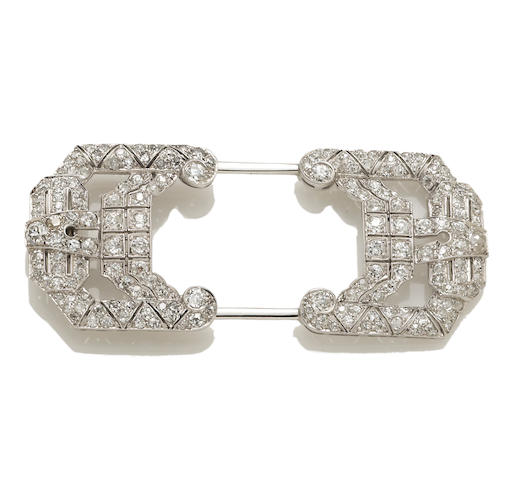 An art deco diamond hat pin,