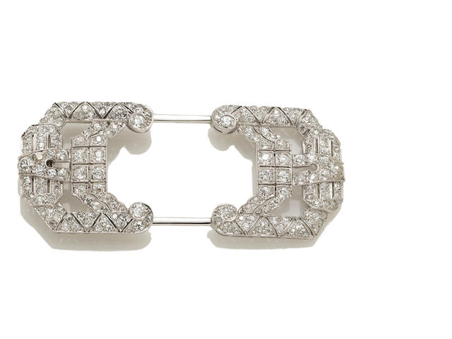 An art deco diamond hat pin
