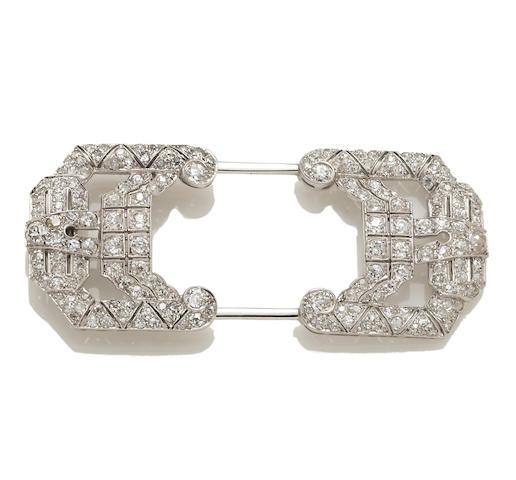 An art deco diamond hat pin