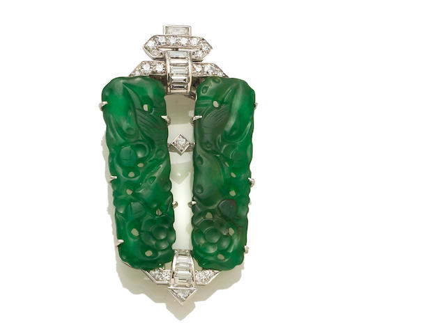 A diamond, jadeite jade and white metal clip-brooch, French