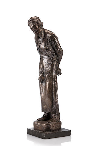 A silvered bronze figure of a rabbi by Almendado