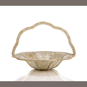 Chinese export ivory lotus-form handled basket, circa 1850