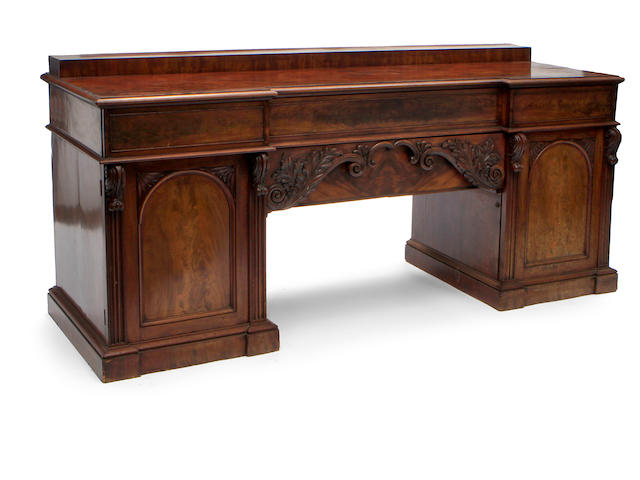 A William IV mahogany twin pedestal sideboard