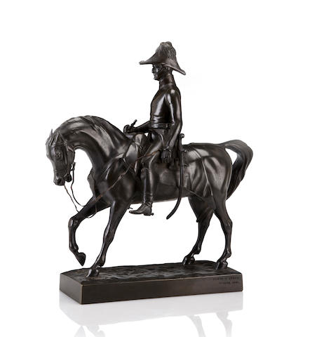 A patinated bronze sculpture of the Duke of Wellington on horseback, after a model by Alfred-Guillaume Gabriel, Comte d'Orsay (French, 1801-1852) inscribed and dated 1848, height: 16 in.
