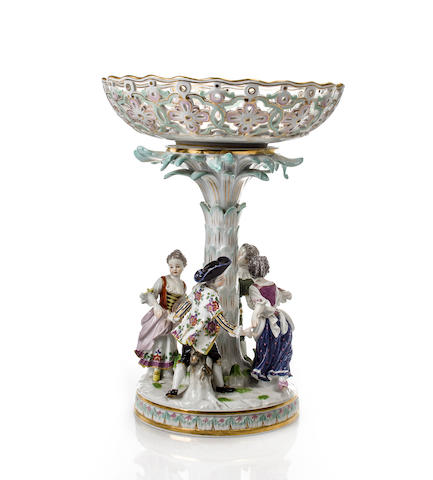 A Meissen porcelain figural centerpiece with pierced basket 20th century