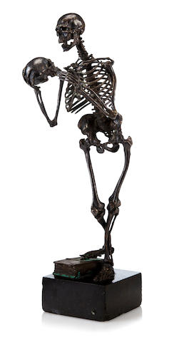 Bronze figure of Skeleton by Carl Kauba, signed