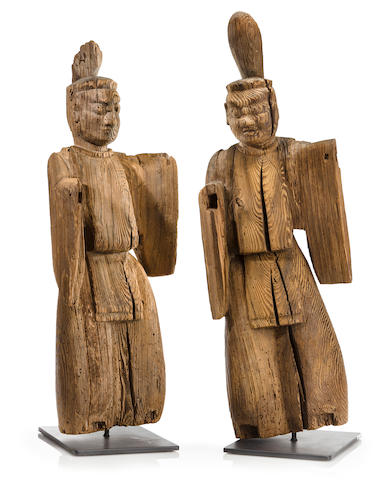 A pair of wood shinzo sculptures Kamakura period (13th century)