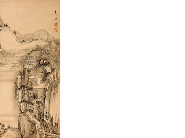 After Soga Shohaku (18th century) Pavillion in a mountainous landscape