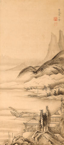 After Soga Shohaku (18th century) Fishing boats in a landscape