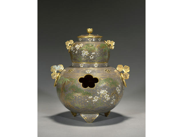 A two section cloisonné enamel koro<BR />Attributed to Namikawa Yasuyuki (1845-1927), late 19th century
