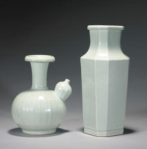 Two celadon glazed porcelains