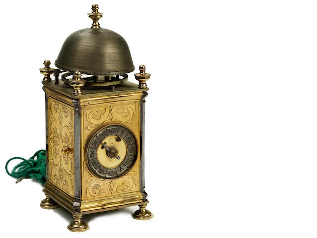 A Renaissance style iron and gilt brass weight driven balance wheel chamber clock with alarm Incorporating 17th century elements