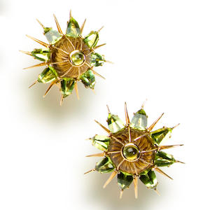 A pair of green tourmaline and peridot earclips, Tony Duquette