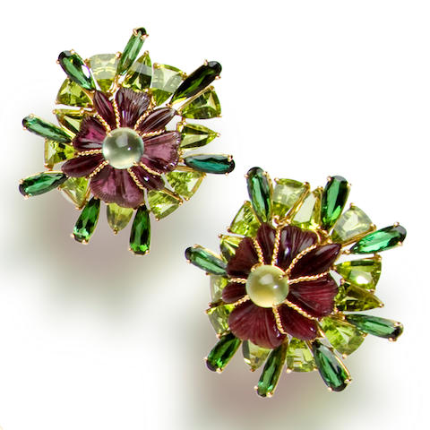 A pair of pink tourmaline, green tourmaline and peridot earclips, Tony Duquette
