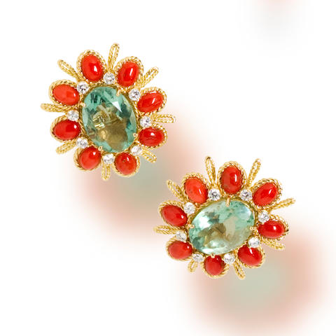 A pair of fluorite, coral and diamond earclips, Tony Duquette