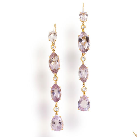 A pair of kunzite and diamond pendant earrings, Tony Duquette
