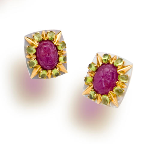 A pair of ruby, peridot and mother of pearl earclips, Tony Duquette
