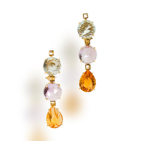 A pair of green quartz, amethyst and citrine pendant earclips, Tony Duquette