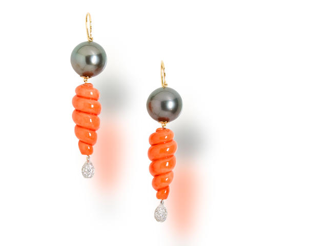 A pair of coral, South Sea cultured pearl and diamond earrings, Tony Duquette