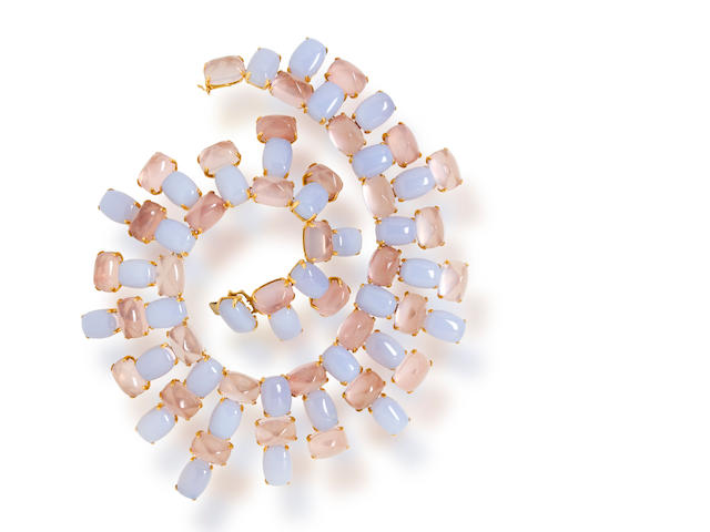 A blue chalcedony and rose quartz necklace, Tony Duquette