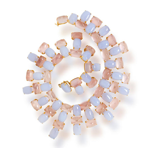 A blue chalcedony and rose quartz necklace, Tony Duquette