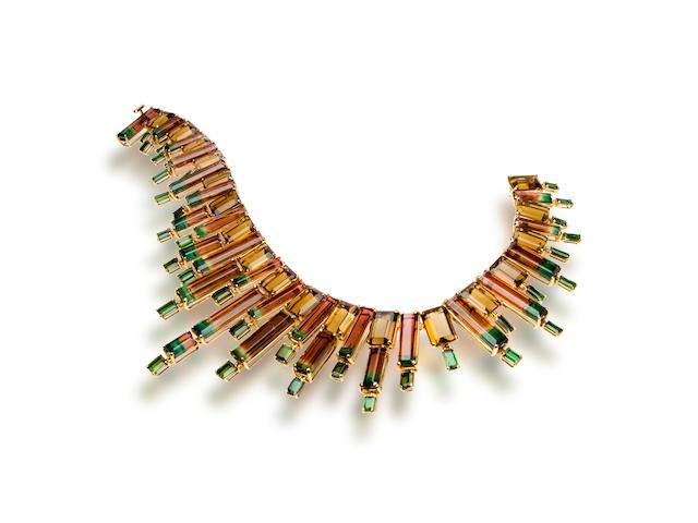 A tourmaline and citrine necklace, Tony Duquette