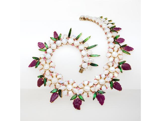 A moonstone and gem-set necklace, Tony Duquette