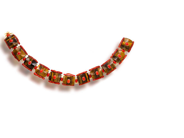 A tiger's eye and coral necklace, Tony Duquette