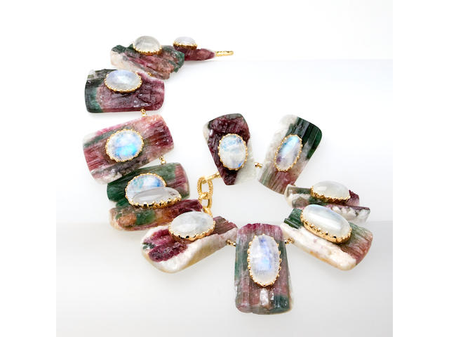 A bicolor tourmaline and moonstone necklace, Tony Duquette