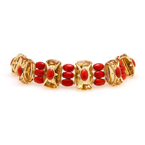 A citrine and coral bracelet, Tony Duquette
