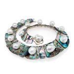 An abalone shell and South Sea cultured pearl necklace, Tony Duquette