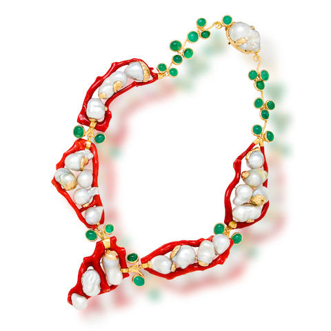 A coral, emerald and South Sea cultured pearl necklace, Tony Duquette
