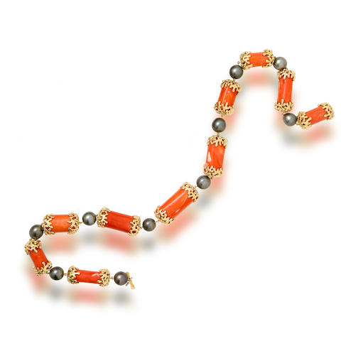 A coral and South Sea cultured pearl necklace, Tony Duquette