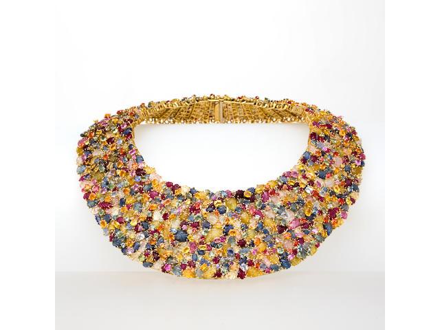 A multi-colored sapphire necklace, Tony Duquette