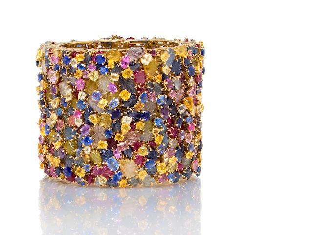 A multi-colored sapphire bracelet, Tony Duquette