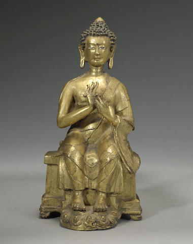 A gilt copper alloy figure of Maitreya