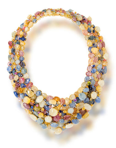 A multi-colored sapphire necklace, Tony Duquette