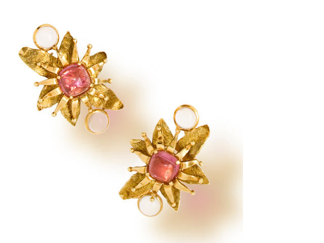 A pair of pink tourmaline and rose quartz earclips, Tony Duquette