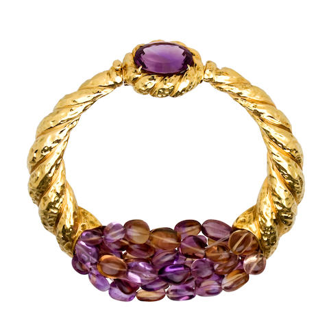 An amethyst and ametrine necklace, Tony Duquette