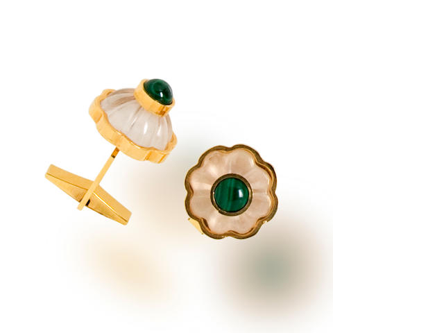 A pair of malachite and rock crystal cufflinks, Tony Duquette