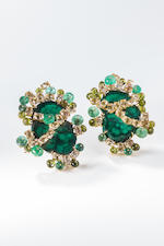 A pair of malachite and gem-set earclips, Tony Duquette