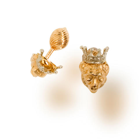A pair of fourteen karat bicolor gold cufflinks, Tony Duquette