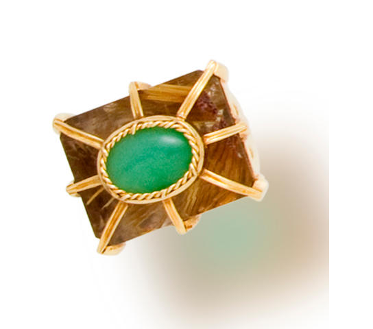 A rutilated quartz and jadeite jade ring, Tony Duquette