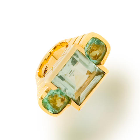 A green quartz and fluorite ring, Tony Duquette