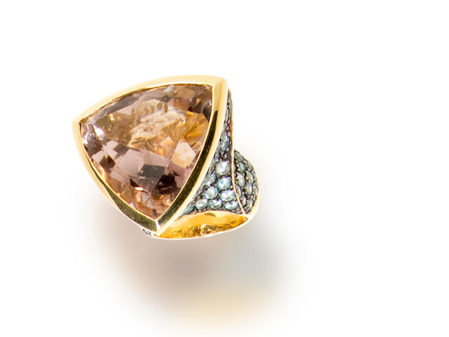 A kunzite and zircon ring, Tony Duquette