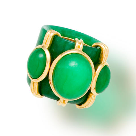 A jadeite jade archer's ring, Tony Duquette