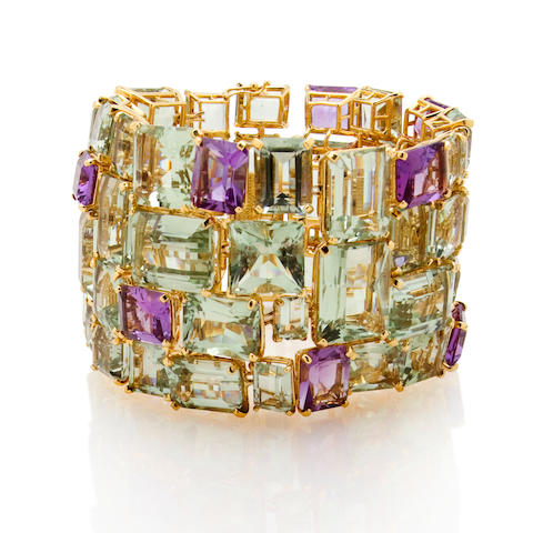A green quartz and amethyst bracelet, Tony Duquette
