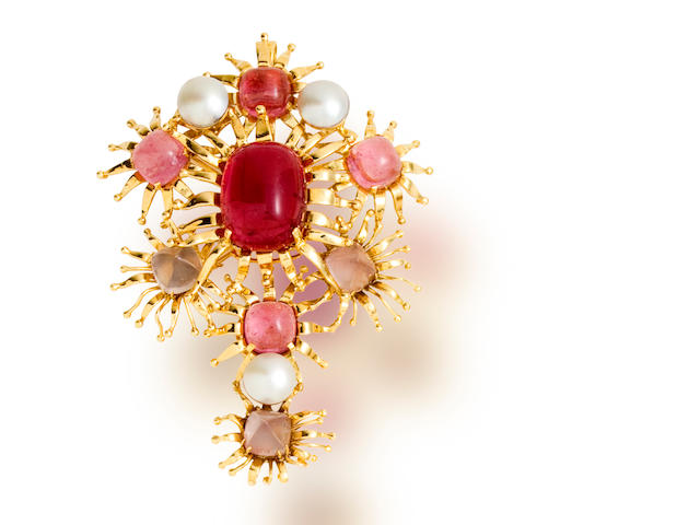 A pink tourmaline, rose quartz and mabé cultured pearl brooch/pendant, Tony Duquette