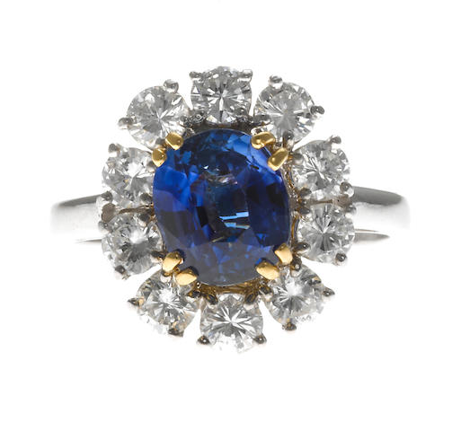A sapphire, diamond, 18k white gold and platinum ring, Chaumet, Paris