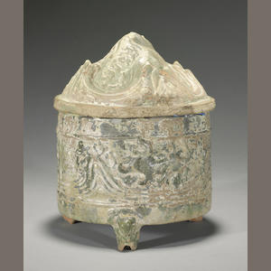 A green glazed pottery censer and cover Han dynasty
